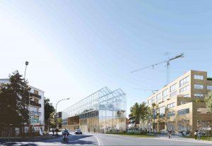 Le bâtiment-serre sur l'avenue de Gaulle